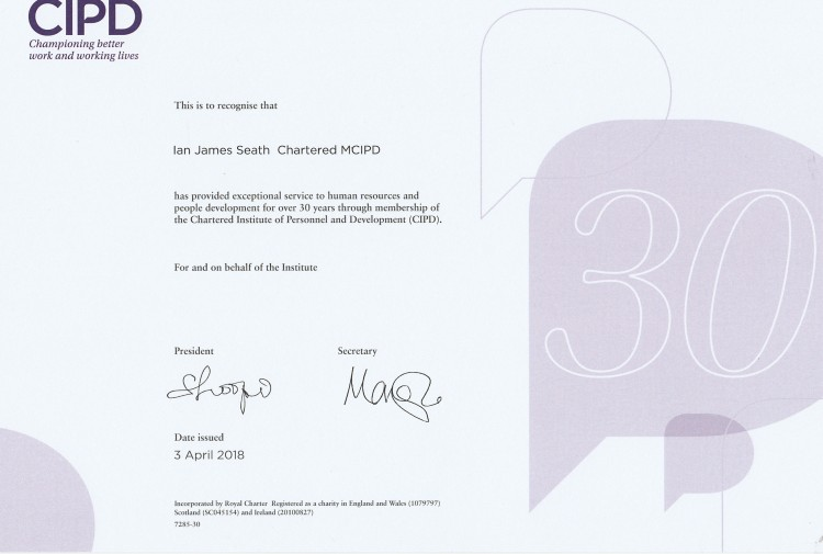 CIPD 30 Year Certificate